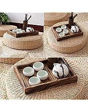 Renquen Cojín tejido a mano, cojín para el hogar, cojín de hierba, almohadilla de paja tejida redonda para yoga, tapete de suelo de jardín, decoración de comedor