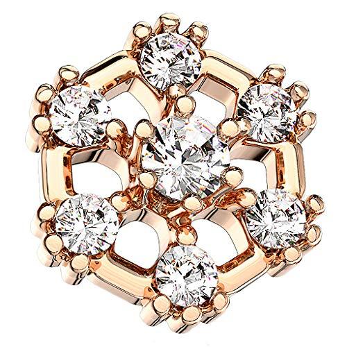 Piercingfaktor Aufsatz für Dermal Anchor Piercing Hautanker Implantat Skin Diver Hexagon mit Kristallen Rosegold