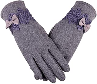 SGJFZD Women's Gloves Lace Cotton Gloves for Women Wrist Length Mittens Gloves Thermal Winfbreak Gloves (Color : Purple, Size : OneSize)