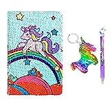 Unicorn Notebook A5 e penna Set per bambini, Flippy Sequin Journal Diario per ragazza Writing Cancelleria Forniture per studenti con un Sequin Unicorn regalo portachiavi
