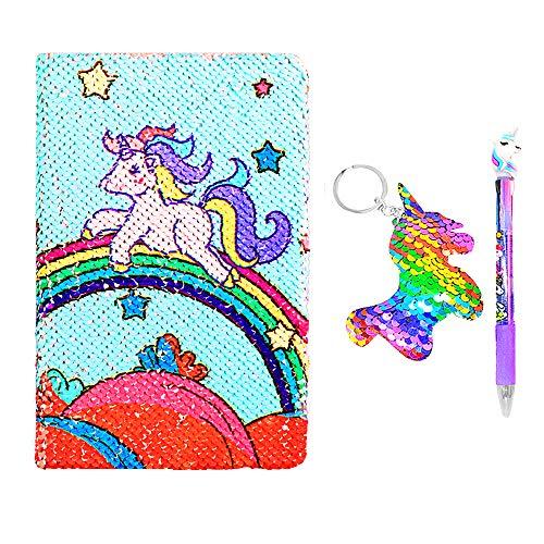 Unicorn Notebook A5 y juego de bolígrafos para niños, Flippy Sequin Diario Diario Artículos de papelería para estudiantes Artículos de regalo con un llavero de lentejuelas Unicorn (Rainbow unicorn)
