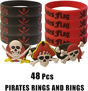 Cleverplay Pirate Party Favors Supplies with 24 Pack Caribbean Pirates Silicone Wristbands Bracelets and 24 Pack Pirate Toy Rings Great for Kids Birthday Parties and Pirate Events