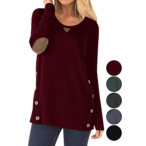 c4578573141 Calvin & Sally Womens Long Sleeve Buttons Cotton Casual Blouse Tunic Tops  with Elbow Faux Suede
