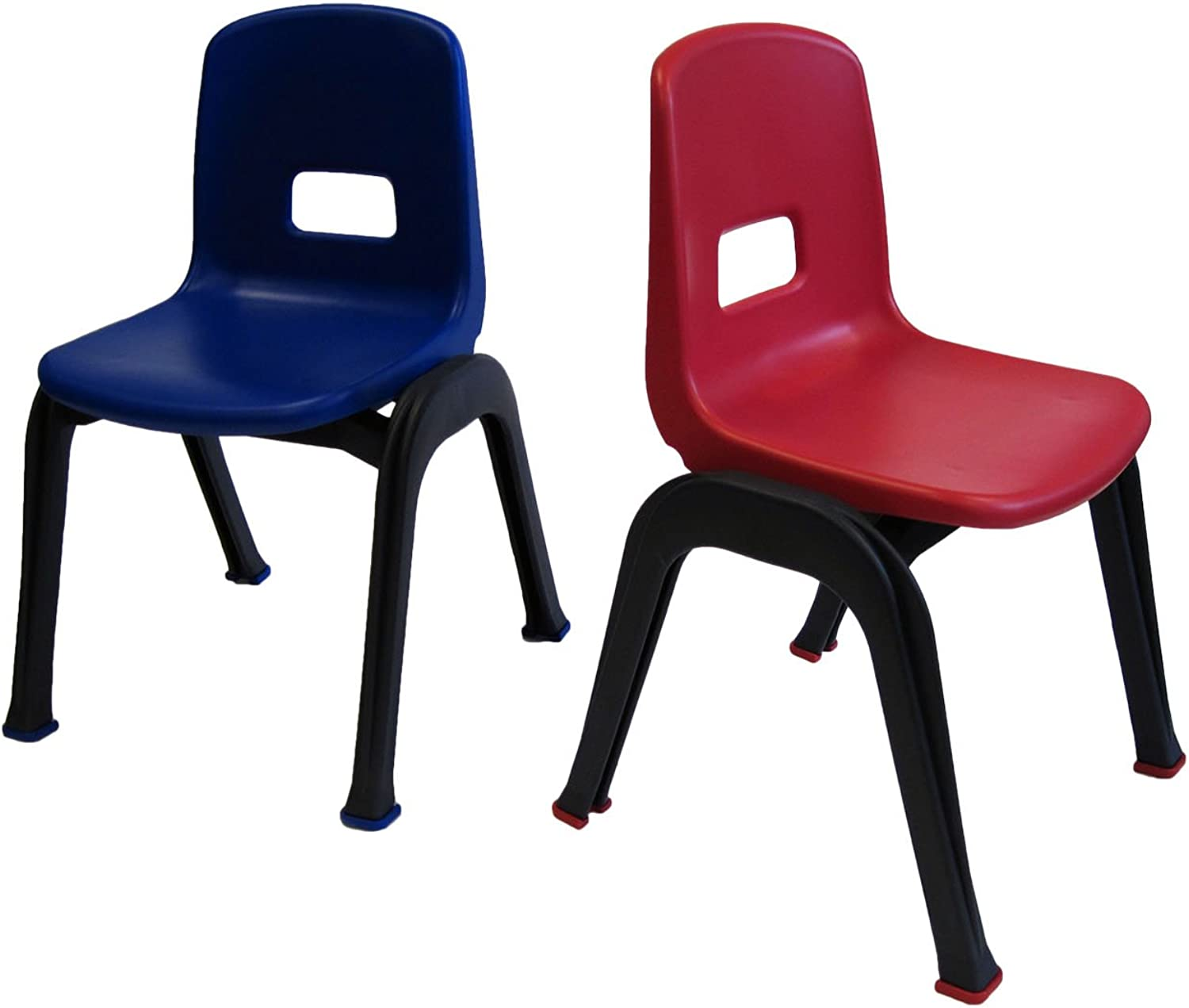 Set of 2 Stackable School Chairs, 12  High Seat, Red & bluee, Heavy Duty