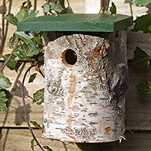 Birch Log Nest Box for Birds 32mm Hole Size *FSC