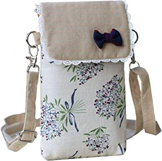 YaJaMa Canvas Flower Women Shoulder Crossbody Bag Cellphone Pouch Purse Wallet