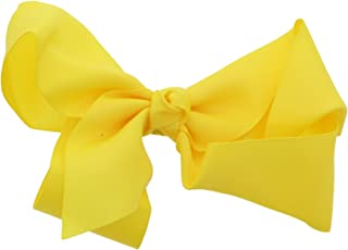 5.5 Inch Grosgrain Hair Bow Clip For Woman And Girls (Yellow)