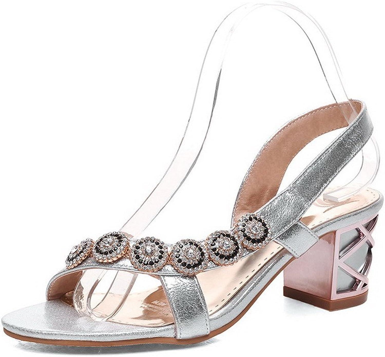 WeenFashion Women's Soft Material Pull On Open Toe Kitten Heels Solid Sandals