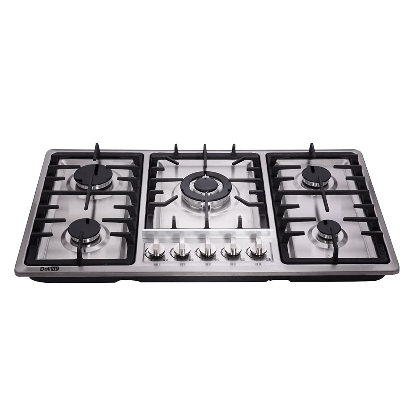 DeliKit DK258-A01 34 inch Gas Cooktop gas hob 5 burners LPG/NG Dual Fuel 5 Sealed Burners Stainless Steel 5 Burner Built-In gas hob 110V AC pulse ignition gas stove vevioflhdbjnk2