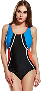 Women Sexy Swimming Costume Swimsuit Swimwear Flat Seams Sport Bulit in Bra Soft Cups Tankini Soft and Comfortable Without Irritation (Color : Orange, Size : 18)