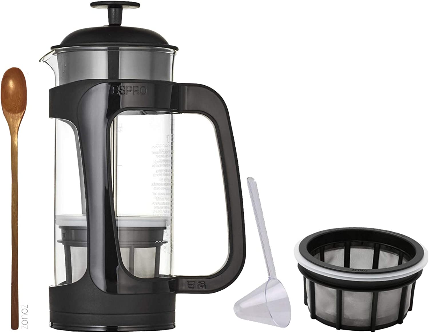 Espro Coffee Press P3-32 oz, Glass Carafe and Black Plastic Cage, Extra Coffee Microfilter, Zonoz Wooden Stirring Spoon & One-Tablespoon Plastic Clever Scoop (Bundle)