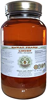 Linden Alcohol-Free Liquid Extract, Organic Linden (Tilia x Europaea) Dried Leaf and Flower Glycerite Hawaii Pharm Natural Herbal Supplement 32 oz Unfiltered