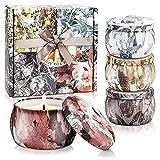 YMing Velas Aromática, Juego de 4 Piezas 4.4Oz Velas Perfumadas, Estaño de Viaje de Cera Natural de Soja Portátil, Regalos Originales para Mujer, Aliviar el Estrés y Aromaterapia