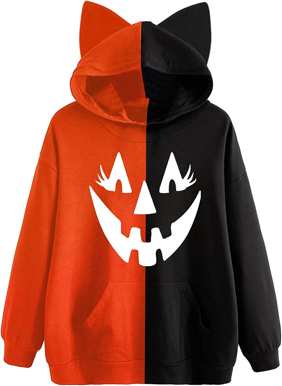 Halloween Hoodies for Women Plus Size Cute Cat Ear Splicing Long Sleeve Pullover Sweatshirt Pumpkin Ghost Casual Hoodies