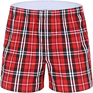 Men's Pyjama Shorts Casual 100% Cotton Plaid Lounge Wear Shorts Pajama Bottoms Half Pant Summer Boxer Briefs Sleepwear Adj...