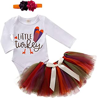 3Pcs Outfit Set Baby Girls 2019 New Thanksgiving Long Sleeve Romper Tutu Skirt with Headband