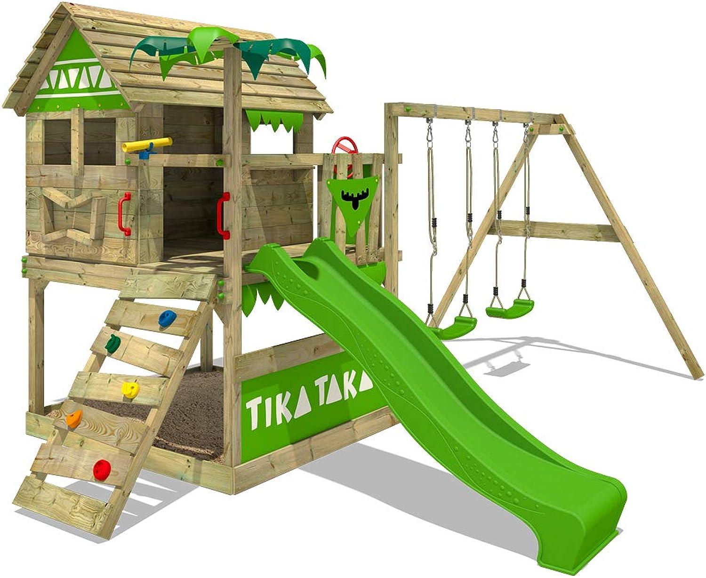 FATMOOSE Spielturm TikaTaka Town XXL Kletterturm mit Doppelschaukel, Rutsche und viel Spiel-Zubehr, apfelgrüne Rutsche