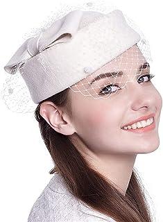 ZOO 女性のためのヴィンテージフェルトワイドブリムウールリボンベールフロッピー帽子ベレー帽 (色 : 白)