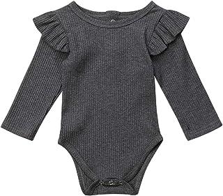 الوليد الطفل بنات الفتيان رومبير السببية داخلية الرضع الاطفال الكشكشة طويلة الأكمام حللا الصلبة الزي 0-24 متر (Color : Gra...