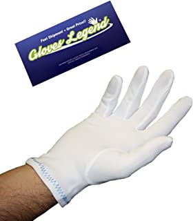 Size Large – 6 pairs (12 Gloves) Gloves Legend Nylon Stretch White Coin Jewelry Silver Fashion Inspector Gloves