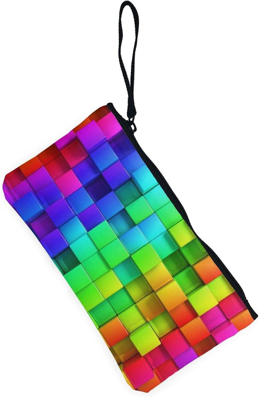 AORRUAM Plaid colorful beautiful Canvas Coin Purse,Canvas Zipper Pencil Cases,Canvas Change Purse Pouch Mini Wallet Coin Bag