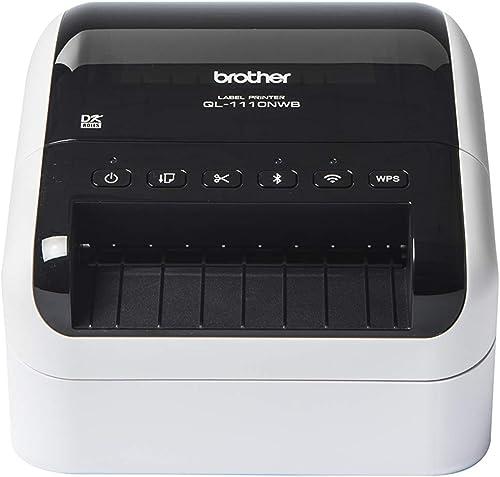 Brother QL-1100NWB Imprimante d'Étiquettes Industrielle - Inclus 1 Rouleau DK11247 & 1 Rouleau DK22205 - Ethernet - B...