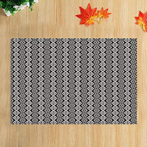 lovedomi Black Stripes Geometric Squares Black and White Minimalist Theme Series Bathroom Carpet Non-Slip Door Mat Floor Entrance Indoor Front Mat Child Mat 15.7X23.6In Bathroom Accessories