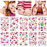 Qpout Tatuajes temporales de flamencos para niños, Pegatinas de tatuaje de decoración de fiesta hawaiana de verano, para niñas niños, mujeres hombres fiestas de cumpleaños regalos