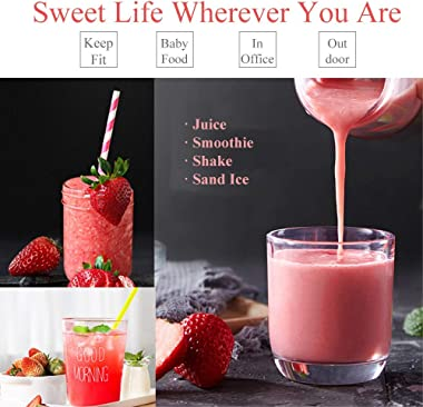 Portable Rechargeable Juice Blender, Household Fruit Mixer, T Tersely Personal Blender 480ml / 16.8OZ USB Juicer Cup for Home