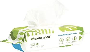 """Earth Rated Dog Wipes, Plant-based, Compostable Wipes for Dogs, USDA-Certified 99% Biobased, Hypoallergenic, 8x8"""" Deodoriz..."""