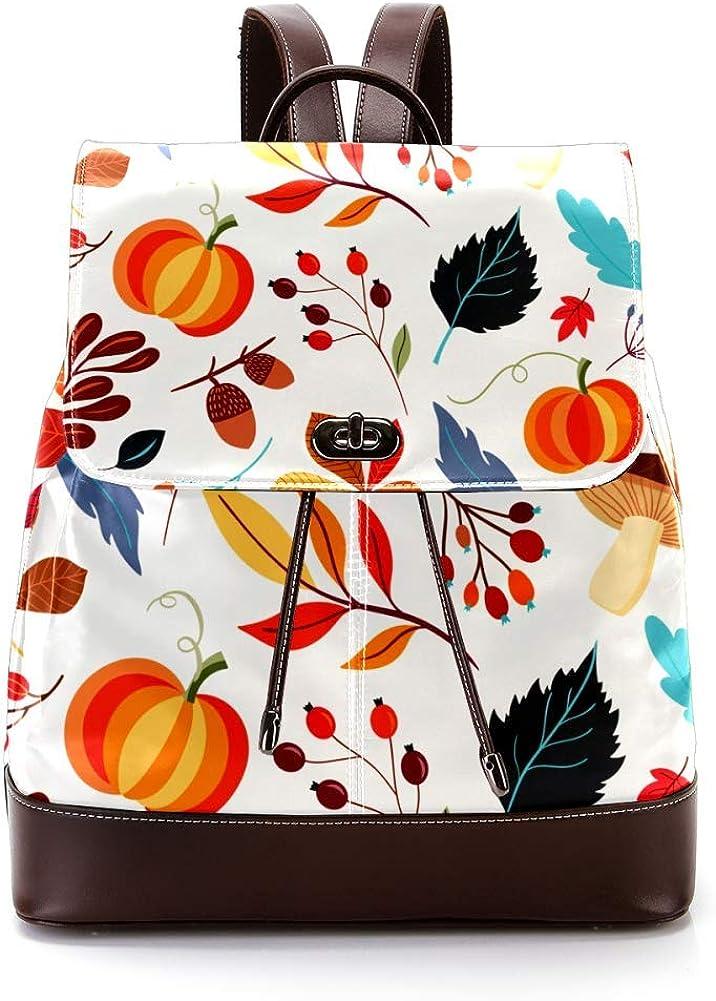 Autumn Pattern PU Leather Backpack Fashion Shoulder Bag Rucksack Travel Bag for Women Girls