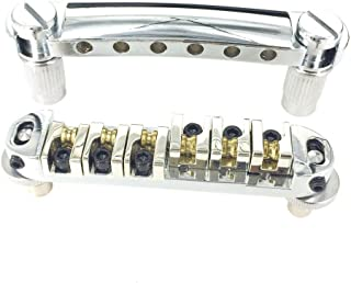 Greenten Chrome Roller Saddle Tune-O-Matic Guitar Bridge Tailpiece for Gibson Les Paul Electric Guitar Replacement