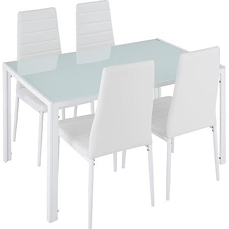 TecTake Table de Salle à Manger avec 4 chaises | Confort d'Assise très élevé | Plaque de Table Robuste en Verre trempé - diverses Couleurs (Blanc | No. 402838)