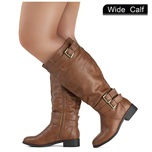 70f93ab2139 RF ROOM OF FASHION Wide Calf Lady s Buckle Knee High Riding Boots Hidden  Pocket