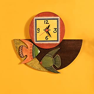 Aakriti Art Creations Multi-Color Handcrafted Madhubani Fish Design Decorative Wooden Wall Clock