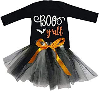 Newborn Halloween Outfits Kids Girls Deer Bat Print Letter Long Sleeve Dress with Bowknot Tulle Skirts Happy Day Clothes