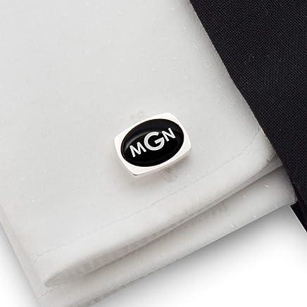 Three Letter Monogram, Engraved Cufflinks, Custom Cufflinks, Mens cufflinks, Black Onyx stone 925 Silver | FREE Gift Messaged, Box | Handmade
