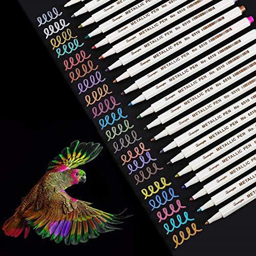 WeyTy Metallic Marker Stifte Set, 20 Farben Premium Metallischen Stift Pens für Kartenherstellung...
