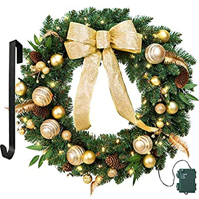 LIFEFAIR 23 Inch Christmas Wreath Gold Bowknot, Berry, Ball, with 50 Battery Operated LED Lights and Christmas Hanger