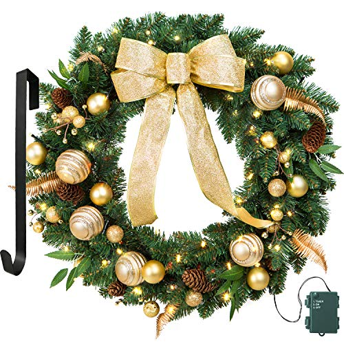 LIFEFAIR 24 Inch Christmas Wreath Gold Bowknot, Berry, Ball, with 50 Battery Operated LED Lights and Christmas Hanger