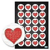 24 kleine rot weiße Herzaufkleber MIT LIEBE FÜR DICH selbstklebende Sticker Etiketten für...