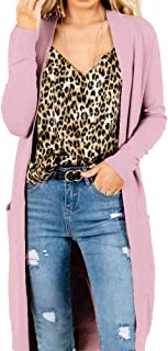 KEEMO Women's Casual Long Open Front Long Sleeve Knit Sweater Cardigan with Pocket