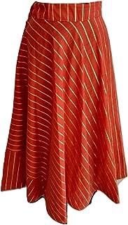 SNEH Women's Silk Skirt (Red,Free Size)