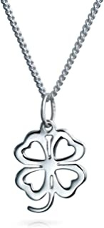 Heart Flower Shamrock Good Luck Charm Four Leaf Clover Pendant Necklace For Women For Teen 925 Sterling Silver
