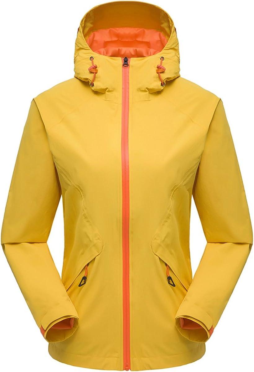 Hiheart Womens Hooded Waterproof Rain Jacket Outdoor Lightweight Windbreaker