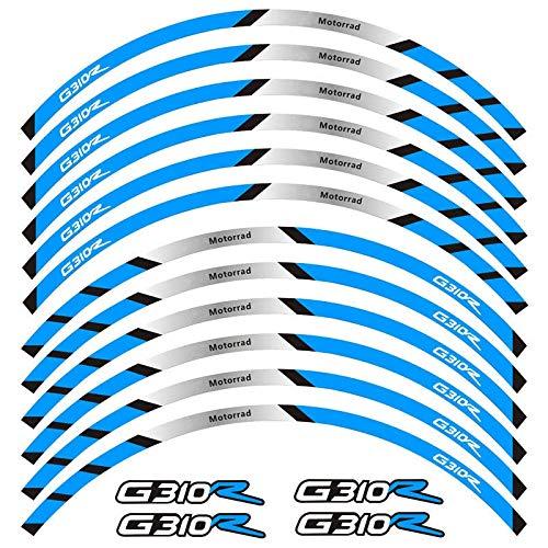 12 PCS Ajuste Pegatina de la Rueda de la Rueda de la Rueda de la Raya de la Raya Reflectante para BMW G310R Pegatinas para Moto (Color : 7)