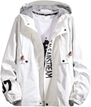 Beautyfine Men's Coat, Spring Casual Letter Printed Zipper Hoodie Tops