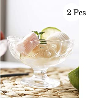 Mini Dessert and Appetizer Bowls,Clear Glass,2 Piece Set Essentials Home Footed Glass Ice Cream Dessert Dishes Cup