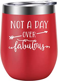 Not a Day Over Fabulous - Fun Birthday Gifts for Women - Funny Birthday, Christmas Wine Gift Ideas for Her, Best Friend BFF, Mom, Wife, Daughter, Sister, Aunt, Coworker - LEADO Birthday Wine Tumbler
