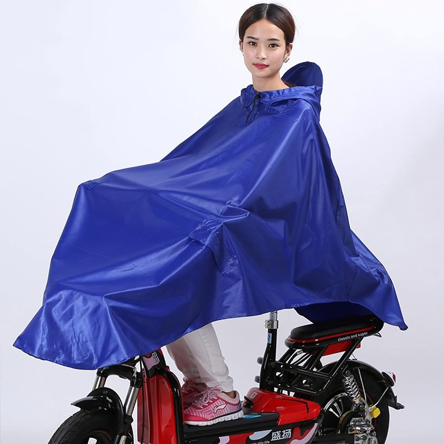 Electric Raincoat Sleeved Single Bicycle Poncho Hooded (color   bluee, Size   XXL)